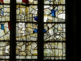 East window of Savile Chapel, nII, Panels 1d, 2d, 3d, 4d, 1e, 2e, 3e, 4e, c1493,Church of St. Michael and All Angels, Thornhill, Wakefield.Commissioned by Anna Eavis with Jonathan and Ruth Cooke Ltd (Stained Glass Conservation).