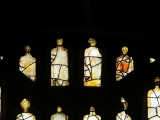 East window of Savile Chapel, nII, tracery, Panels C1, B1, B2, B3, B4, C2, c1493,Church of St. Michael and All Angels, Thornhill, Wakefield.Commissioned by Anna Eavis with Jonathan and Ruth Cooke Ltd (Stained Glass Conservation).