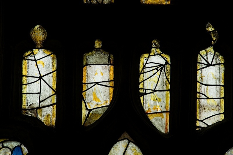 East window of Savile Chapel, nII, tracery, Panels A4, A5, A6, A7. c1493,Church of St. Michael and All Angels, Thornhill, Wakefield.Commissioned by Anna Eavis with Jonathan and Ruth Cooke Ltd (Stained Glass Conservation).