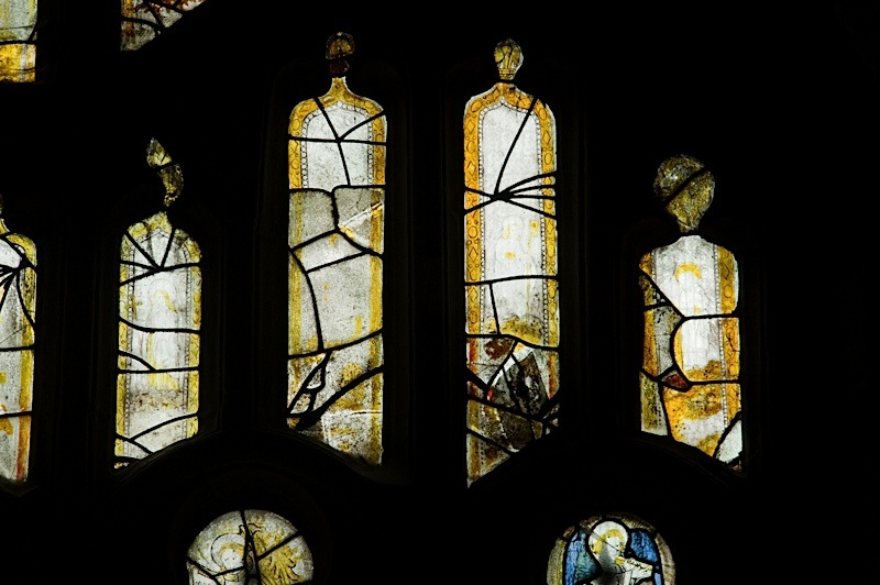 East window of Savile Chapel, nII, tracery, Panels A7, A8, A9, A10. c1493,Church of St. Michael and All Angels, Thornhill, Wakefield.Commissioned by Anna Eavis with Jonathan and Ruth Cooke Ltd (Stained Glass Conservation).