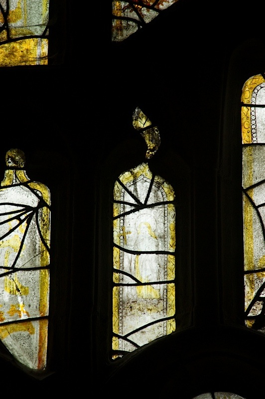 East window of Savile Chapel, nII, tracery, Panel A7, c1493,Church of St. Michael and All Angels, Thornhill, Wakefield.Commissioned by Anna Eavis with Jonathan and Ruth Cooke Ltd (Stained Glass Conservation).