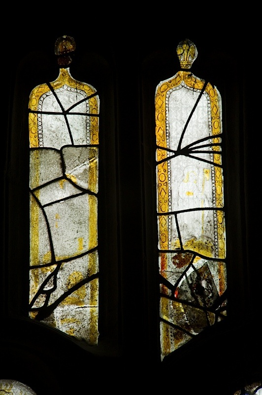 East window of Savile Chapel, nII, tracery, Panels A8 and A9, c1493,Church of St. Michael and All Angels, Thornhill, Wakefield.Commissioned by Anna Eavis with Jonathan and Ruth Cooke Ltd (Stained Glass Conservation).
