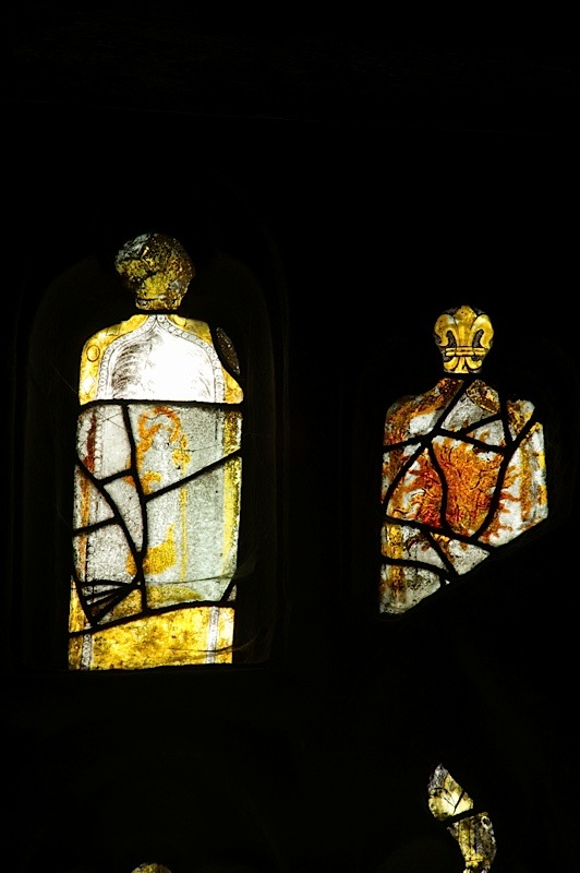 East window of Savile Chapel, nII, tracery, Panels B3 and B4, c1493,Church of St. Michael and All Angels, Thornhill, Wakefield.Commissioned by Anna Eavis with Jonathan and Ruth Cooke Ltd (Stained Glass Conservation).