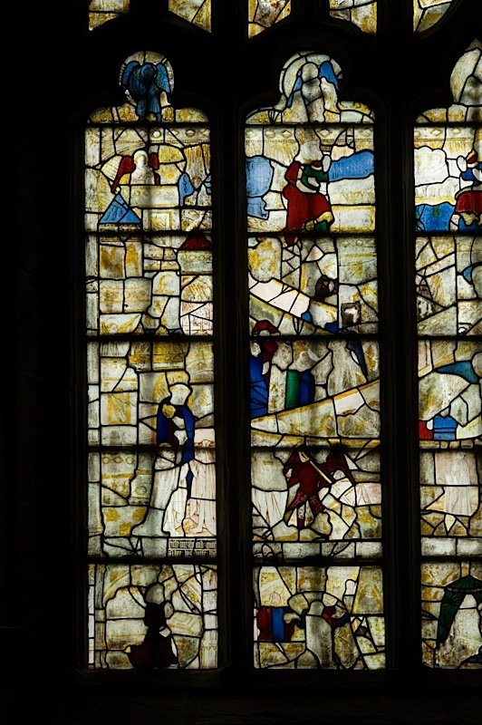 East window of Savile Chapel, nII, Panels 1a,2a, 3a,4a, 1b, 2b,3b,4b, c1493,Church of St. Michael and All Angels, Thornhill, Wakefield.Commissioned by Anna Eavis with Jonathan and Ruth Cooke Ltd (Stained Glass Conservation).