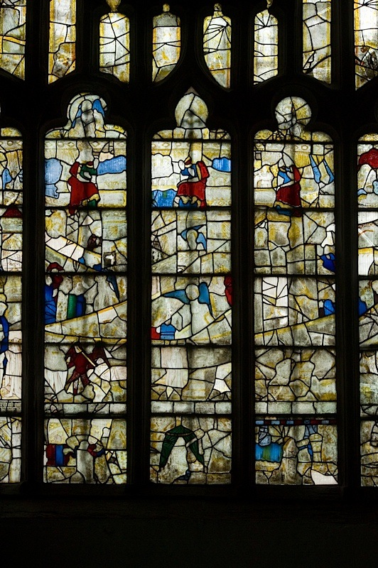 East window of Savile Chapel, nII, Panels 1b,2b, 3b, 4b,1c, 2c, 3c, 4c, 1d, 2d, 3d, 4d, c1493,Church of St. Michael and All Angels, Thornhill, Wakefield.Commissioned by Anna Eavis with Jonathan and Ruth Cooke Ltd (Stained Glass Conservation).