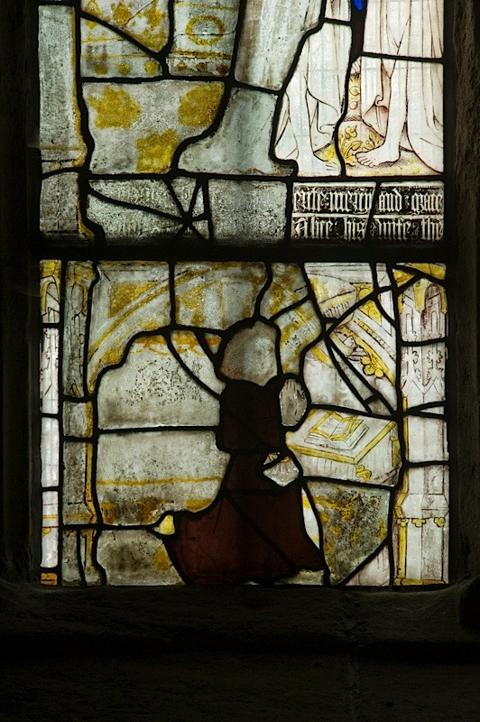 East window of Savile Chapel, nII, Panel 1a, c1493,Church of St. Michael and All Angels, Thornhill, Wakefield.Commissioned by Anna Eavis with Jonathan and Ruth Cooke Ltd (Stained Glass Conservation).