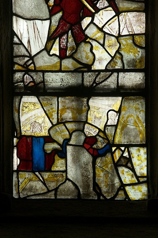 East window of Savile Chapel, nII, Panel 1b, c1493,Church of St. Michael and All Angels, Thornhill, Wakefield.Commissioned by Anna Eavis with Jonathan and Ruth Cooke Ltd (Stained Glass Conservation).