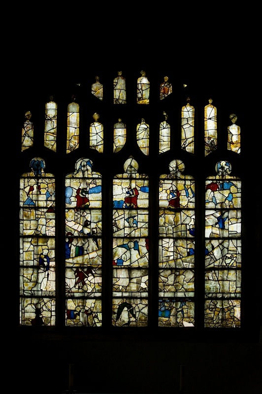 General view from west, east window of Savile Chapel, nII, c1493,Church of St. Michael and All Angels, Thornhill, Wakefield.Commissioned by Anna Eavis with Jonathan and Ruth Cooke Ltd (Stained Glass Conservation).