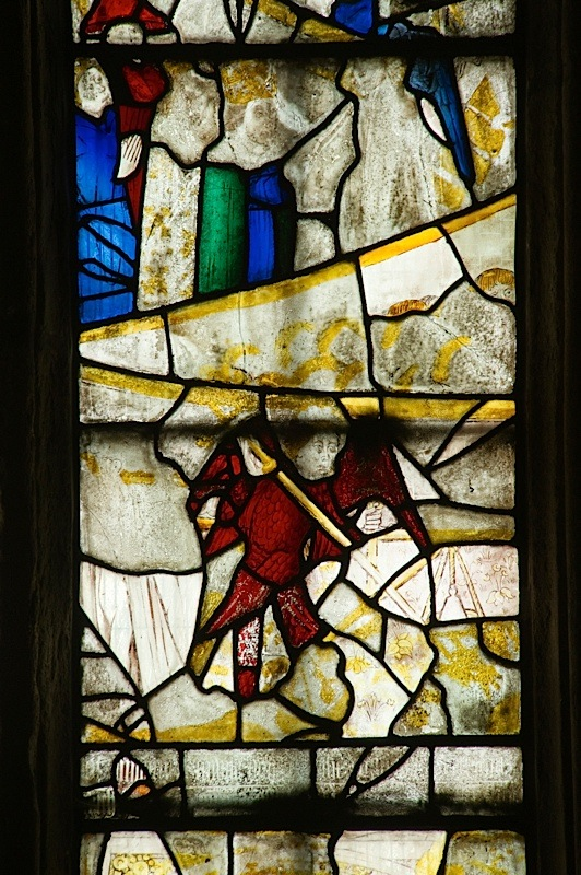 East window of Savile Chapel, nII, Panel 2b, c1493,Church of St. Michael and All Angels, Thornhill, Wakefield.Commissioned by Anna Eavis with Jonathan and Ruth Cooke Ltd (Stained Glass Conservation).
