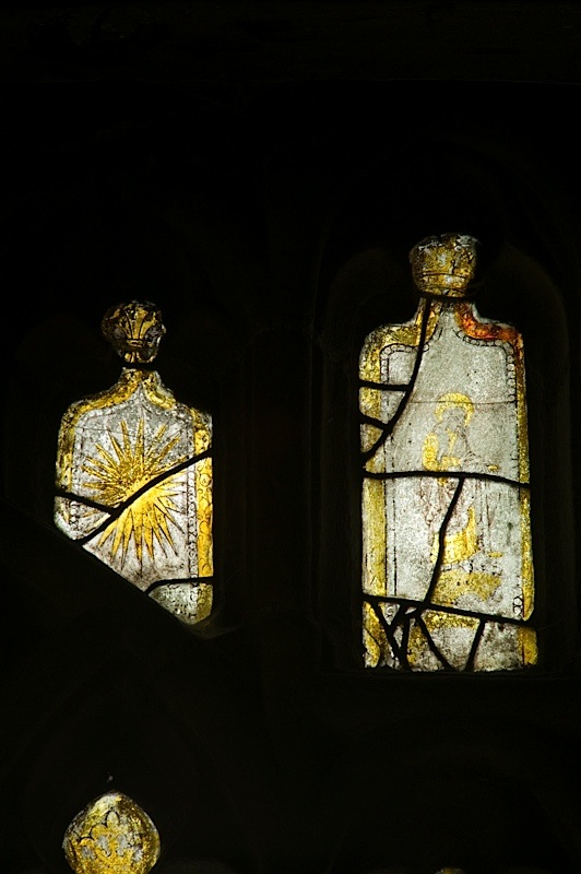 East window of Savile Chapel, nII, tracery, Panels B1 and B2, c1493,Church of St. Michael and All Angels, Thornhill, Wakefield.Commissioned by Anna Eavis with Jonathan and Ruth Cooke Ltd (Stained Glass Conservation).