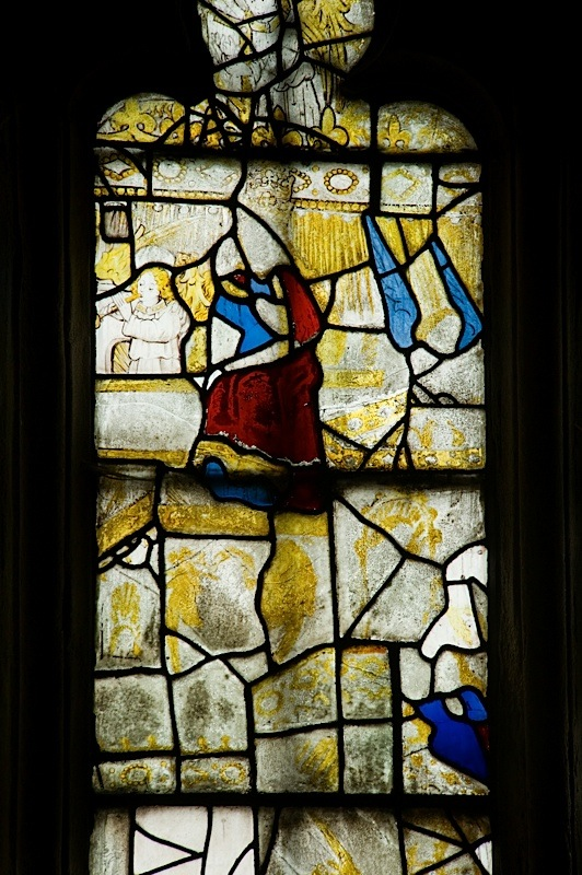 East window of Savile Chapel, nII, Panel 3d, c1493,Church of St. Michael and All Angels, Thornhill, Wakefield.Commissioned by Anna Eavis with Jonathan and Ruth Cooke Ltd (Stained Glass Conservation).