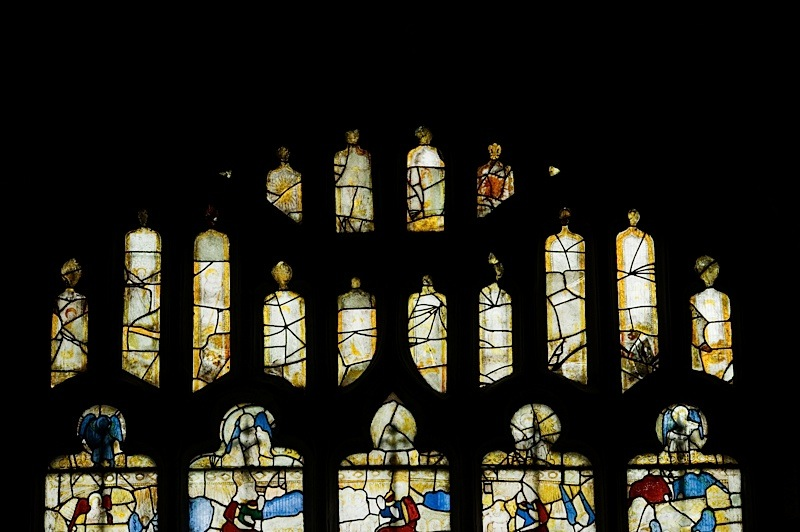 East window of Savile Chapel, nII, whole of tracery, c1493,Church of St. Michael and All Angels, Thornhill, Wakefield.Commissioned by Anna Eavis with Jonathan and Ruth Cooke Ltd (Stained Glass Conservation).