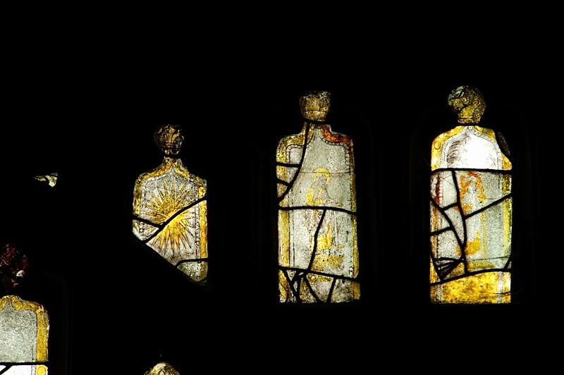 East window of Savile Chapel, nII, tracery, Panels C1, B1, B2, B3. c1493,Church of St. Michael and All Angels, Thornhill, Wakefield.Commissioned by Anna Eavis with Jonathan and Ruth Cooke Ltd (Stained Glass Conservation).