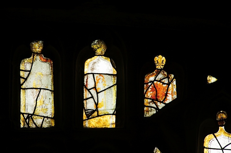 East window of Savile Chapel, nII, tracery, Panels B2, B3, B4, C2.c1493,Church of St. Michael and All Angels, Thornhill, Wakefield.Commissioned by Anna Eavis with Jonathan and Ruth Cooke Ltd (Stained Glass Conservation).