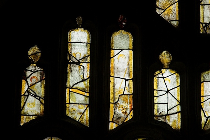 East window of Savile Chapel, nII, tracery, Panels A1, A2, A3, A4. c1493,Church of St. Michael and All Angels, Thornhill, Wakefield.Commissioned by Anna Eavis with Jonathan and Ruth Cooke Ltd (Stained Glass Conservation).